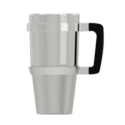 A brushed aluminum handle designed specifically to fit the YETI Rambler Tumbler